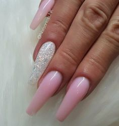 Ballerina Nails. Long Ballerina Nails. Pink Nails. Pink And White Nails. Acrylic Nails. Gel Nails. Spring Nails.