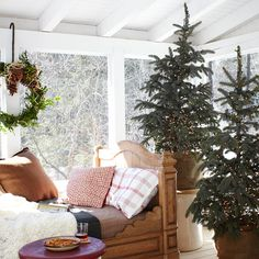Love the trees in the baskets! Keep Your Decorating Style Simple