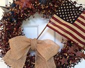 Tea Stained Flag Wreath with Pip Berries, Rusty Stars, Burlap Bow & Large Red and Blue Stars, Patriotic Wreath, Americana Wreath,4th of July