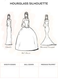 Hourglass Style Wedding Dresses Sheath Ball Gown Or Mermaid Trumpet Silhouette