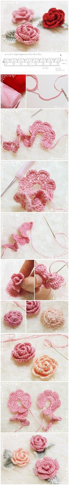 How to make hand-knitted rose - Folkvox - Imágenes que hablan de mí -