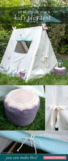 Adorable kid's play tent for little ones. #kidstoy #diytoys #playtent Fun Crafts For Kids, Diy And Crafts, Picnic Blanket, Outdoor Blanket, Kids Tents, Wood Home Decor, Diy Craft Projects, Project Ideas, Paper Roses