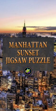 Stunning Manhattan Sunset Puzzle by Educa Puzzle Company. This Breathtaking jigsaw puzzle for adults has 3000 pieces and showcases the city lights and skyline of Manhattan's sunset. Uncover the city that never sleeps! Difficult Jigsaw Puzzles, Hobbies For Couples, Hobby Ideas, City That Never Sleeps, City Lights, Diy Crafts To Sell, Legos, Manhattan, Sunrise