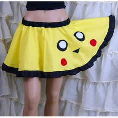 Pikachu Pokemon Retro Gamer Applique Circle Skirt Adult All Sizes... ($40) ❤ liked on Polyvore