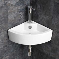 Wall Mounted Small Corner Cloakroom Basin Sink 310mm Wall Egde | OLBIA