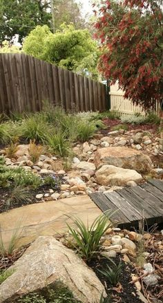 Browse landscape pictures, discover landscaping ideas and get tips from landscape design for creating your dream front yard landscaping or backyard landscaping ideas. Garden Paths, Garden Landscaping, Dry Riverbed Landscaping, Garden Bridge, Rain Garden Design, Australian Native Garden, Coastal Gardens, Garden Compost, Dry Creek