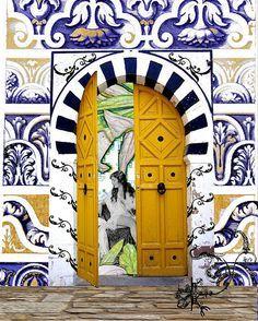 Morocco - yellow door - blue