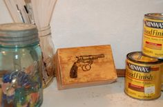 Small Trinket Box with Gun Burned on Top - Finished with Gunstock Stain and Varnished - Free Shipping