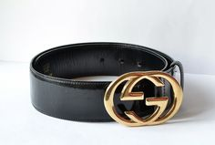 Authentic GUCCI Black Patent Leather Belt Classic by MySunnyStore, $175.00
