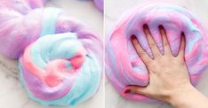 Recipe of slime inflated with the colors of unicorn - diyc Pate Slime, Fluffy Slime Recipe, Camping Games, Good Foods For Diabetics, Diy Slime, Diy Birthday, Vegan Recipes Easy, Gifts For Girls, Diy For Kids