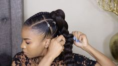 Black-ish Marsai Martin Inspired Ponytail Tutorial – hairstyles for curly hair natural Protective Hairstyles For Natural Hair, Natural Hair Braids, Easy Hairstyles For Medium Hair, Black Women Hairstyles, Braided Hairstyles, Simple Natural Hairstyles, Afro Hairstyles For Kids, Natural Protective Styles, Protective Style Braids