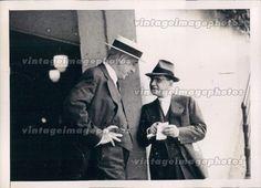 1939 Men Hats Deep Conversation Business Outside Office Suits Press Photo