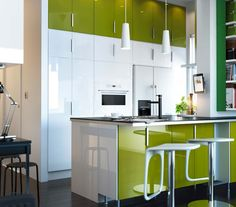 white cabinets, lime green walls, med tone wood | dream home style