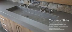 Custom Concrete Sink with Twin Faucets