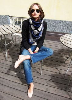 scarf + black blazer + denim + flats