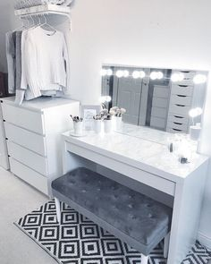 Bedroom Ideas For sensational to comfy decor, room decor article number 7388486517 - Ingenious and cozy concept to create that really incredible and super sensational decor . diy home decor bedroom ideas mirror Example shared on this date 20181214 , Vanity Room, Ikea Vanity Table, Closet Vanity, Cute Room Decor, Wall Decor, Grey Room Decor, Mens Room Decor, Glam Room, Bedroom Decor Glam