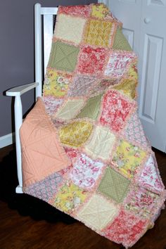 Check out this item in my Etsy shop https://www.etsy.com/listing/208432775/modern-vintage-rag-quilt