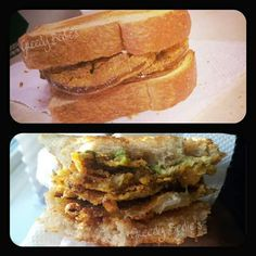 Fried Green Tomato Sandwich with bacon & avocado. On whole grain wheat.