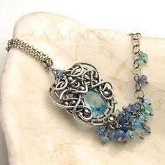 Ava bracelet by Iza Malczyk, blue topaz, kyanite, quartz, silver