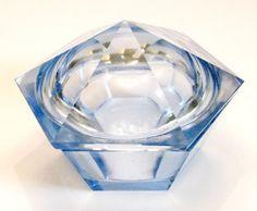 Art Deco Cut Glass Powder Jar Blue Trinket by SentimentalVintager