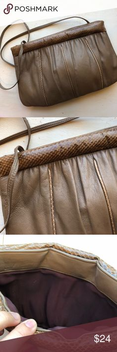 Vintage 1980's snakeskin & leather crossbody Vintage 80's taupe leather crossbody. Snakeskin trim , long strap can be tucked inside to carry as a clutch. Excellent condition! vintage Bags Crossbody Bags