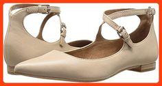 FRYE Women's Sienna Cross Ballet Flat, Beige, 5.5 M US