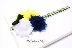 Minion FOE Headband and Hair Tie Set- Royal Blue, White, Yellow and Black Sequin Bow (Ready to ship)