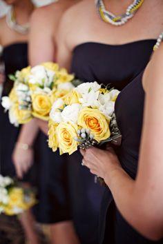 yellow and navy wedding. Bridesmaids