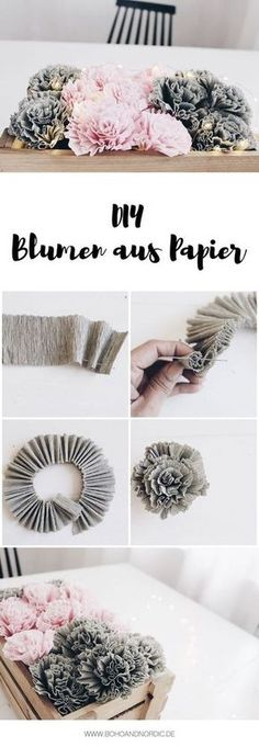 DIY Blumen aus Krepppapier Boho and Nordic DIY Interior Internet-Tagebuch . Crepe Paper Flowers, Diy Flowers, Flower Ideas, Flower From Paper, Potted Flowers, Origami Flowers, Wedding Flowers, Diy And Crafts, Arts And Crafts