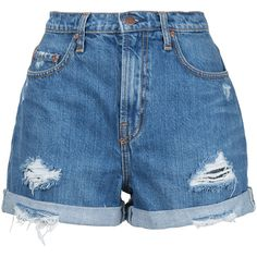 Nobody Denim Stevie Short Angels (430 RON) ❤ liked on Polyvore featuring shorts, bottoms, pants, short, blue, button fly shorts, high waisted boyfriend shorts, highwaist shorts, nobody denim and high-waisted shorts