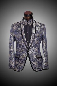 (Jackets+Pants+Bow tie) Luxurious Men Suits with Floral Pattern 2016 Prom Party Men Slim Fit Suit Tuxedo Terno Latest Designer