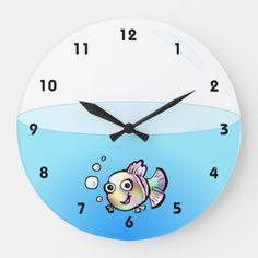 Wall Clock Nursery, Clock Wall, Diy Clock, Clock Ideas, Personalized Clocks, Clock Painting, Goldfish Bowl, Cartoon Fish, Cool Clocks