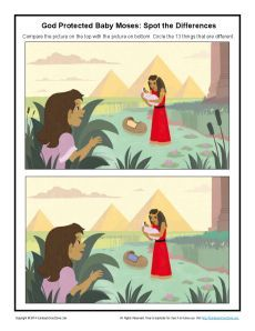 Children's Bible Story Spot the Differences Activity - God Protected Baby Moses Sunday School Crafts For Kids, Sunday School Activities, Bible Activities, Sunday School Lessons, Bible Games, Bible Stories For Kids, Children's Bible, Moise, Bible Pictures