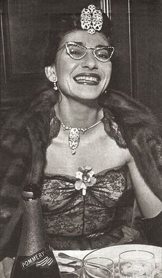 Maria Callas 50s glasses lace gown dress photo print