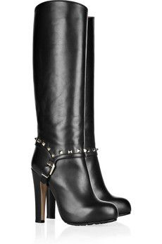 Studded leather knee boots by Valentino