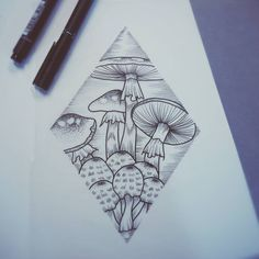 a personal collection of tattoos that I find appealing. currently very interested in geometric. Trippy Drawings, Pencil Art Drawings, Tattoo Drawings, Body Art Tattoos, Sleeve Tattoos, Mushroom Drawing, Mushroom Art, Thistle Tattoo, Occult Tattoo