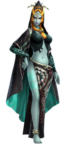 Twili Midna from The Legend of Zelda: Twilight Princess and Hyrule Warriors, with her helmet being a part of the DLC in Breath of the Wild Video Game Characters, Fantasy Characters, Anime Characters, Midna Cosplay, Character Art, Character Design, Princesa Zelda, Hyrule Warriors, The Legend Of Zelda