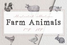 Farm Animals Illustration Pack This handcrafted illustration pack includes two illustrations of five animals made with graphite, a mashup of the two illustrations of each animal and a seamless pattern of each animal ready to use. With a variety of file types, such as JPG or PNG with transparent background, this illustration pack is ready to use.