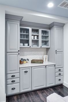 Waypoint Living Spaces® makes the perfect cabinetry for your kitchen, bath, or any room in your home Kitchen Cabinets Grey And White, Small Kitchen Cabinets, Kitchen Cabinet Hardware, Grey Kitchens, Grey Cabinets, Kitchen Hutch, Rustic Kitchen Island, Kitchen Island With Seating, Basement Kitchenette