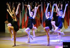 Dancers perform in a thousand-year's history of ancient theater in Bodrum, Turkey, on May 23, 2014. The 15th International Bodrum Dance Festival performances night was held on Friday. 20 dance groups from 11 countries and regions gave a wonderful dance party to the audience.