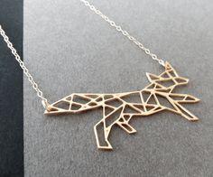 fox jewelry fox necklace geometric fox necklace by WildThingStudio