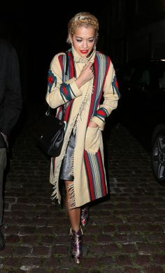 Rita Ora wearing a print cardigan. Graphic prints are very trendy for Fall 2014. -Amber R