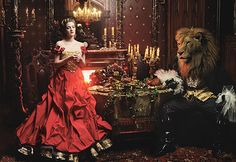 VOGUE FEATURE: Beauty and the Beast    Christian Lacroix Haute Couture dress with gold lace petticoat.    Photo: Annie Leibovitz