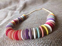 Rainbow Wooden Beaded Necklace For Boho Beach Goddesses. $12.00, via Etsy. Beach Boho Summer  Festival Style rainbow