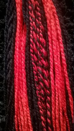 two hand woven hairfalls red and black cyber goth punk rock steampunk alternative hairfall... £27.99