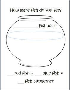 1 Fish, 2 Fish -- FREE Addition template  http://kinderqueendom.blogspot.com/