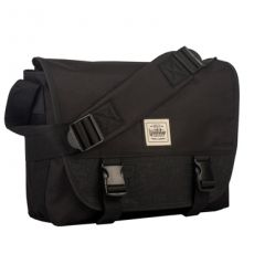 Workshop Large Black Leather Trim Messenger Bag with Laptop and Tablet Slot