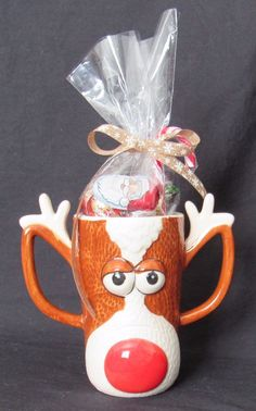Christmas Gift Reindeer Face with Antlers Mug With Assorted Christmas Candy  #Christmas