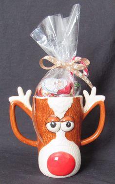 Christmas Gift Reindeer Face with Antlers Mug With Assorted Christmas Candy  #Christmas