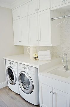 Does your soaking and sock sorting admit place below? If so, we have the best ba… Does your soaking and sock sorting admit place below? If so, we have the best basement laundry room ideas. White Laundry Rooms, Mudroom Laundry Room, Laundry Room Layouts, Laundry Room Remodel, Laundry Room Bathroom, Laundry Room Design, Laundry Room With Sink, Laundry Sinks, Laundry Room Countertop